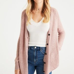 American Eagle Tan Shirttail Cardigan